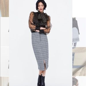Zara plaid pencil skirt new without tag